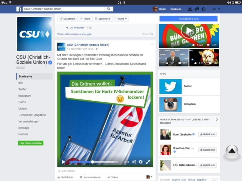 Grenzdebile Volksverhetzer in der CSU - Hartz4 Betroffene auf Facebook Video als Schmarotzer bezeichnet...was sind das eigentlich für armselige Chronisch Selbstherrliche Undemokraten???
