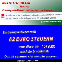 Gefakte SPD-Fakten: Geringverdiener zahlen kaum Steuern...!