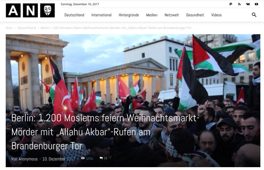 "Berlin: 1.200 Moslems feiern Weihnachtsmarkt-Mörder mit ""Allahu Akbar""-Rufen am Brandenburger Tor – <a href=""anonymousnews.ru"">anonymousnews.ru</a>"