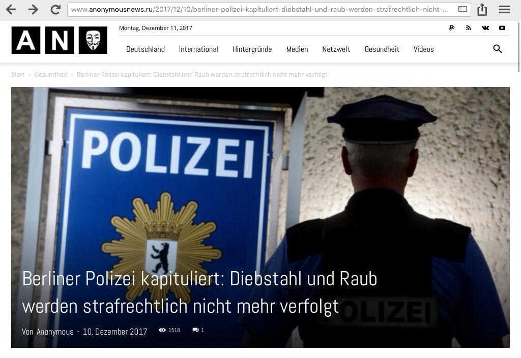 Berliner Polizei kapituliert: Diebstahl und Raub werden strafrechtlich nicht mehr verfolgt…DANKE FRAU DR. KASNER-MERKEL!!!
