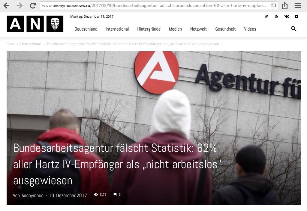 """Bundesarbeitsagentur fälscht Statistik: 62% aller Hartz IV-Empfänger als """"nicht arbeitslos"""" ausgewiesen…!"""