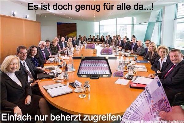 """Kriminell sein lohnt sich: Merkel und ihr unfähiges Kabinett gönnen sich eine kräftige Diäten-Erhöhung, also ein Bundesminister erhält zukünftig immerhin noch 672 € mehr. Die Bezüge steigen damit von 14.608 € auf 15.280 € im Monat...!  Während zahlreiche Deutsche dank der Millionen illegalen Asylforderer tagtäglich Opfer von Diebstahl, Raub und Vergewaltigung werden, denkt die Regierung wie immer nur an sich. Nachdem sich Bundestagsabgeordnete bereits zum 1. Juli 2016 über rund 250 € mehr Gehalt freuen durften, setzten Merkel und ihre kriminelle Regierung jetzt noch einen drauf.    """"Leistung muss sich wieder lohnen"""", sprach schon Helmut Kohl im Jahre 1982. Ob er damals schon daran dachte, dass sich sein Ziehkind IM Erika (aka Angela Merkel) gemäß dieses Slogans einen Schluck nach dem anderen aus der Diätenpulle gönnen wird, ist ungewiss. Das Kabinett Merkel beschloss am Mittwoch den Entwurf des Besoldungsanpassungsgesetzes, mit dem die Ergebnisse des Tarifabschlusses für den öffentlichen Dienst von Ende April auf die Beamten des Bundes sowie die Mitglieder der Bundesregierung und parlamentarische Staatssekretäre übertragen werden.    Die Bezüge der Mitglieder der kriminellen Bundesregierung steigen demnach in zwei Schritten – zunächst rückwirkend zum 1. März um 2,2 Prozent und ab 1. Februar 2017 noch mal um 2,35 Prozent. Damit darf sich die Königin der Schlepper über satte 828 € mehr freuen. Merkels Gehalt steigt von 17.992 € auf 18.820 €. Zum Vergleich: Wer zum Mindestlohn von derzeit 8,50 € beschäftigt ist, erhält netto gerade einmal knapp über 1.000 € pro Monat. Ein Bundesminister erhält zukünftig immerhin noch 672 € mehr. Die Bezüge steigen damit von 14.608 € auf 15.280 € im Monat.    Während das Volk die von Merkel verursachten Kosten im Zusammenhang mit den massenhaft ins Land geschleppten Illegalen zu tragen hat, genehmigen sich die Verantwortlichen immer höhere Diäten. Die Krankenkassenbeiträge werden 2017 weiter steigen, was die einfachen Arbeiter immer stä"""