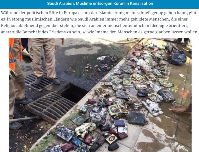 Muslime in Saudi Arabien entsorgen Koran in Kanalisation...Vorbild für Europa?
