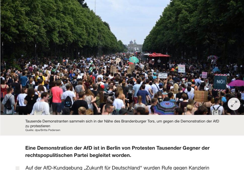 Ca. 12.000 Menschen bei AfD Großdemonstration in Berlin – Naja, gerade mal 0,2% aller AFD-Wähler haben es nach Berlin geschafft…? Die Linksradikalen lachen euch ja schon aus, der Hooton-Plan ist doch schon längst durch, Freunde…bleibt einfach auf den Sofas sitzen und guckt weiter schön brav Formel 1, Fußball WM ist ja auch bald, trinkt noch ein Bierchen, Muddin Merkel wird's schon richten…DIE SCHAFFT EUCH – GARANTIERT AB!