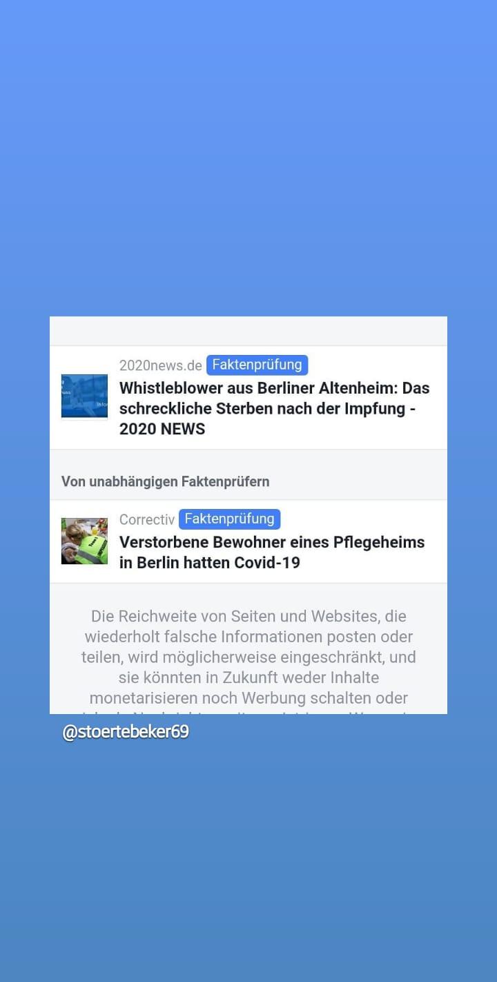 """Hier kann man gut sehen, wie die staatlich geförderten FUCKtenchecker vom Stasi-Kahane-Verein Correctiv mit FakeNews """"arbeiten""""…bitte das Interview des Whistleblowers mit Rechtsanwalt Dr. Füllmich ansehen !!! 👌😠👌"""
